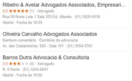 avaliação google online escritório de advocacia